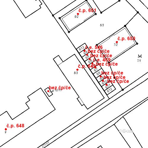 Katastrální mapa Stavební objekt Bučovice 649, Bučovice