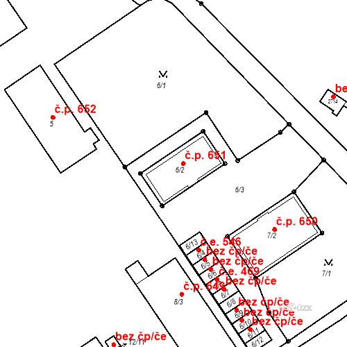 Katastrální mapa Stavební objekt Bučovice 651, Bučovice