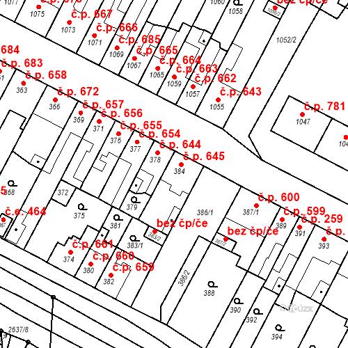 Katastrální mapa Stavební objekt Bučovice 645, Bučovice
