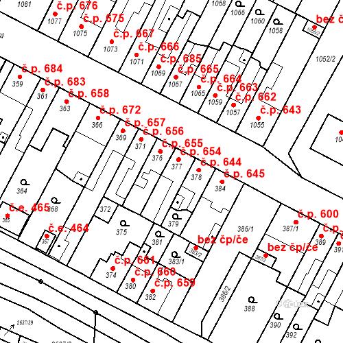 Katastrální mapa Stavební objekt Bučovice 654, Bučovice