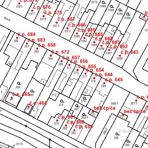 Katastrální mapa Stavební objekt Bučovice 655, Bučovice