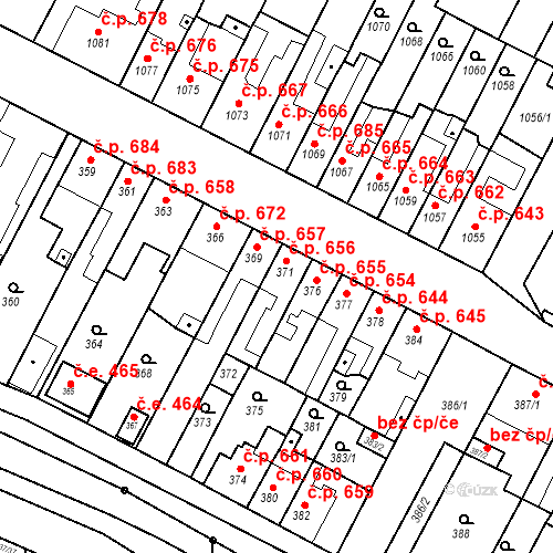 Katastrální mapa Stavební objekt Bučovice 656, Bučovice