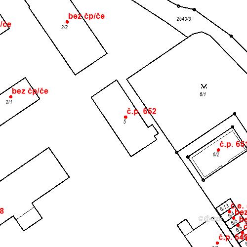Katastrální mapa Stavební objekt Bučovice 652, Bučovice
