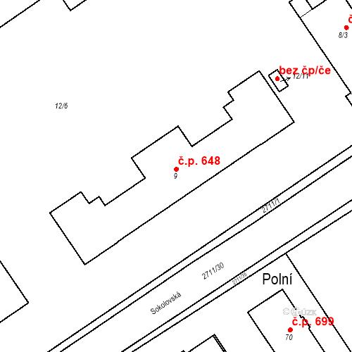Katastrální mapa Stavební objekt Bučovice 648, Bučovice