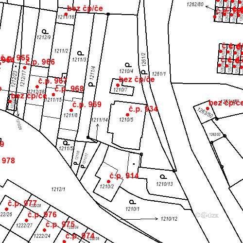 Katastrální mapa Stavební objekt Bučovice 934, Bučovice