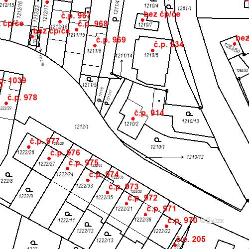 Katastrální mapa Stavební objekt Bučovice 914, Bučovice