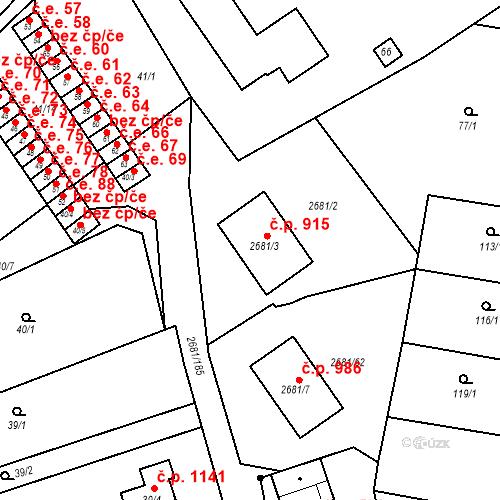 Katastrální mapa Stavební objekt Bučovice 915, Bučovice