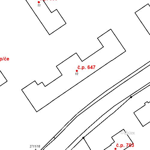 Katastrální mapa Stavební objekt Bučovice 647, Bučovice