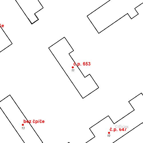 Katastrální mapa Stavební objekt Bučovice 653, Bučovice