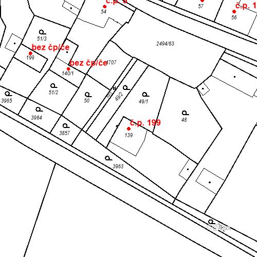 Katastrální mapa Stavební objekt Mouřínov 199, Mouřínov