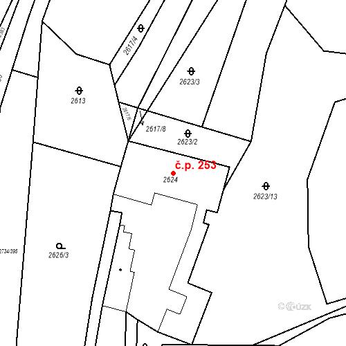 Katastrální mapa Stavební objekt Bučovice 253, Bučovice