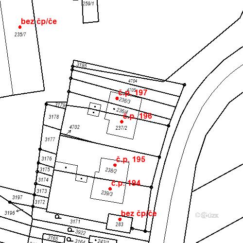 Katastrální mapa Stavební objekt Mouřínov 196, Mouřínov