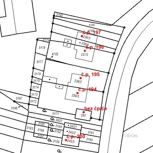 Katastrální mapa Stavební objekt Mouřínov 195, Mouřínov