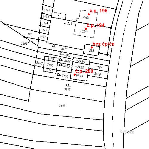 Katastrální mapa Stavební objekt Mouřínov 200, Mouřínov