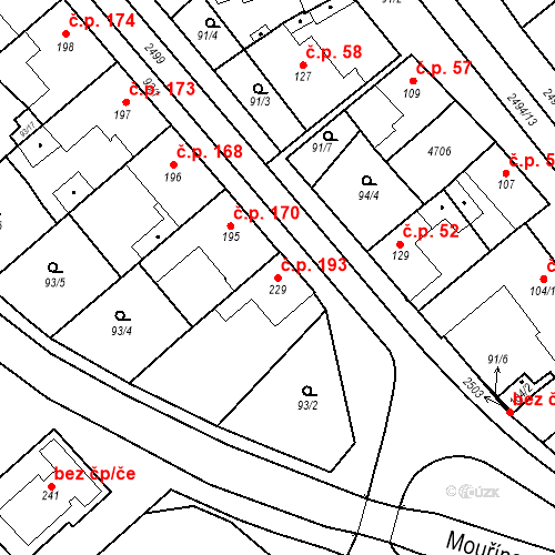 Katastrální mapa Stavební objekt Mouřínov 193, Mouřínov