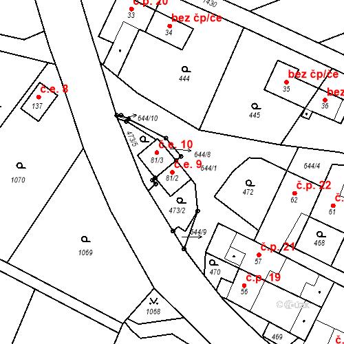 Katastrální mapa Stavební objekt Křemenec 9, Konice