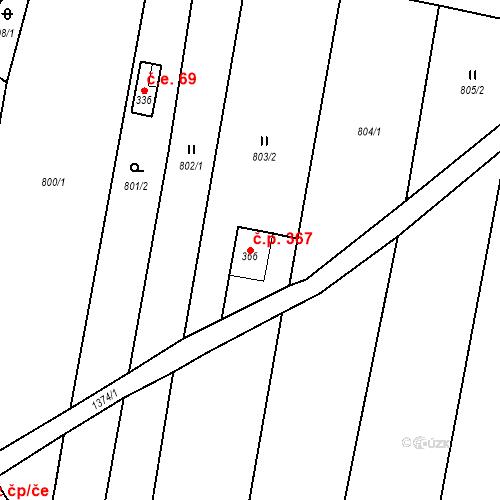 Katastrální mapa Stavební objekt Malé Hradisko 367, Malé Hradisko