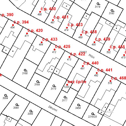 Katastrální mapa Stavební objekt Tvrdonice 422, Tvrdonice