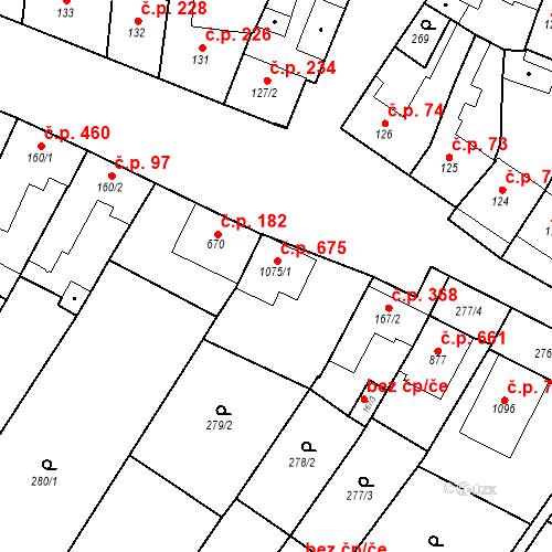 Katastrální mapa Stavební objekt Tvrdonice 675, Tvrdonice
