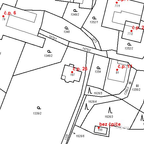 Katastrální mapa Stavební objekt Dětkovice 26, Ludmírov