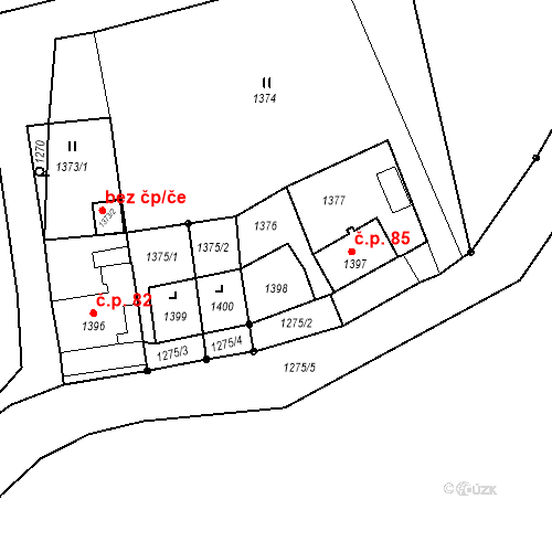 Katastrální mapa Stavební objekt Lhota u Konice 84, Brodek u Konice