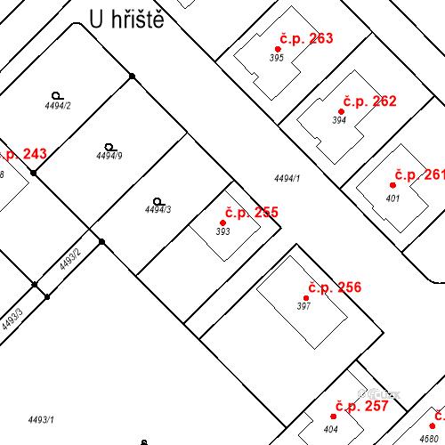 Katastrální mapa Stavební objekt Komořany 255, Komořany