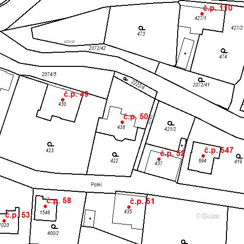Katastrální mapa Stavební objekt Králíky 50, Králíky