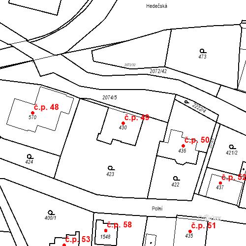 Katastrální mapa Stavební objekt Králíky 49, Králíky