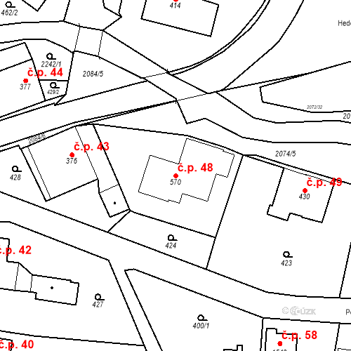 Katastrální mapa Stavební objekt Králíky 48, Králíky