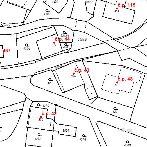 Katastrální mapa Stavební objekt Králíky 43, Králíky