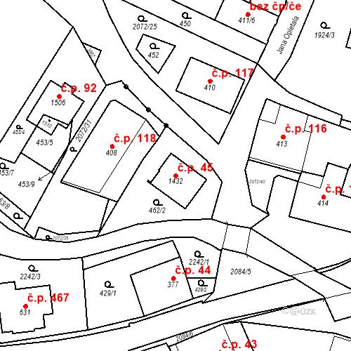 Katastrální mapa Stavební objekt Králíky 45, Králíky