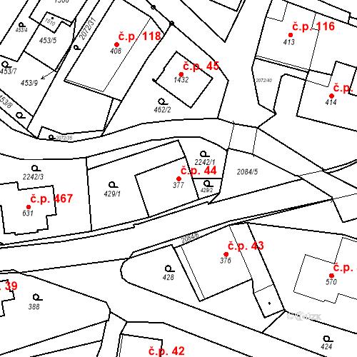 Katastrální mapa Stavební objekt Králíky 44, Králíky