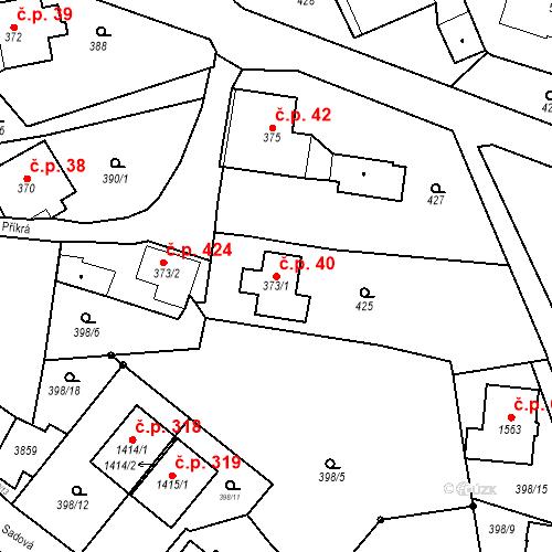 Katastrální mapa Stavební objekt Králíky 40, Králíky