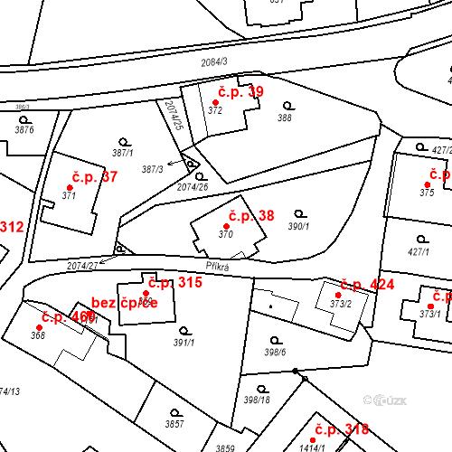 Katastrální mapa Stavební objekt Králíky 38, Králíky