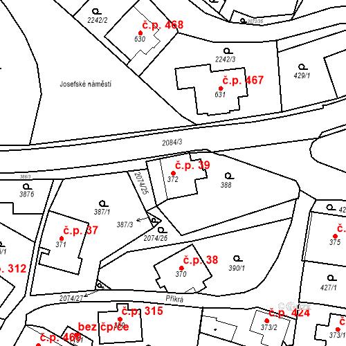Katastrální mapa Stavební objekt Králíky 39, Králíky
