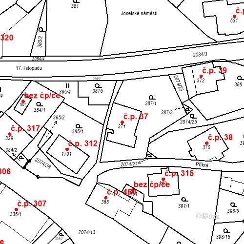 Katastrální mapa Stavební objekt Králíky 37, Králíky