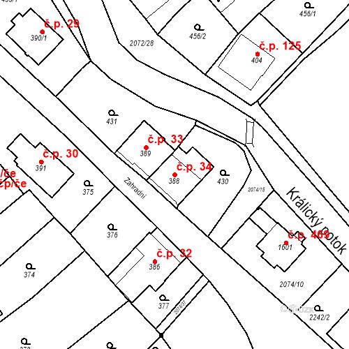 Katastrální mapa Stavební objekt Králíky 34, Králíky
