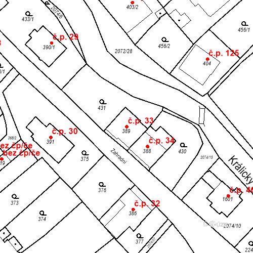 Katastrální mapa Stavební objekt Králíky 33, Králíky