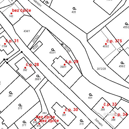 Katastrální mapa Stavební objekt Králíky 29, Králíky