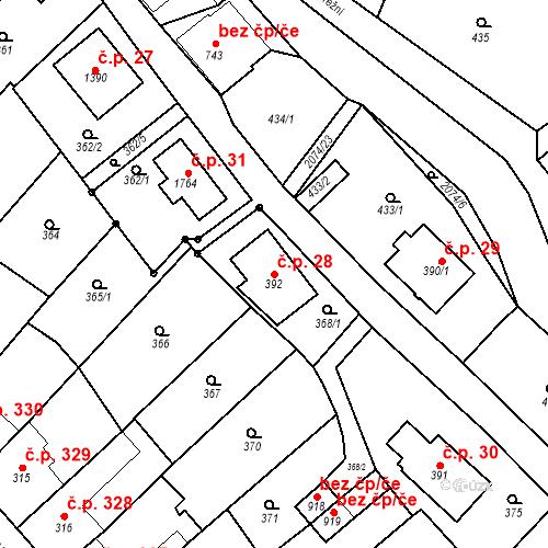 Katastrální mapa Stavební objekt Králíky 28, Králíky