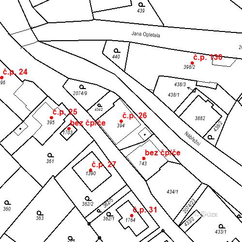 Katastrální mapa Stavební objekt Králíky 26, Králíky
