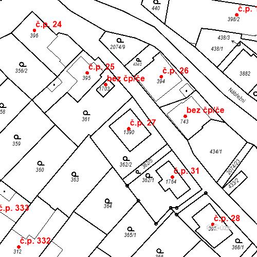 Katastrální mapa Stavební objekt Králíky 27, Králíky