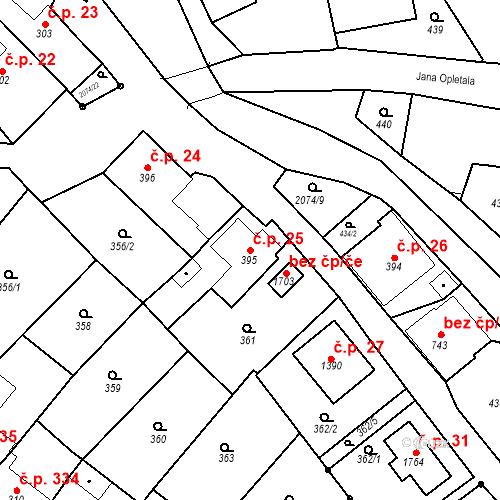 Katastrální mapa Stavební objekt Králíky 25, Králíky