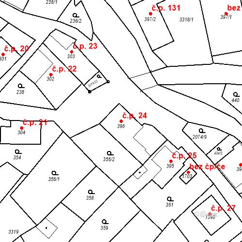Katastrální mapa Stavební objekt Králíky 24, Králíky