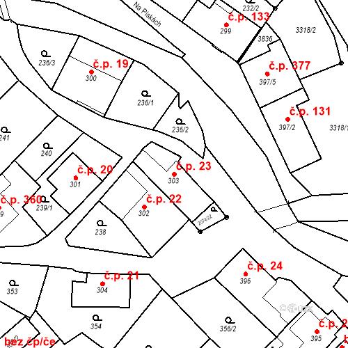 Katastrální mapa Stavební objekt Králíky 23, Králíky