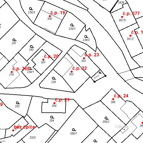 Katastrální mapa Stavební objekt Králíky 22, Králíky