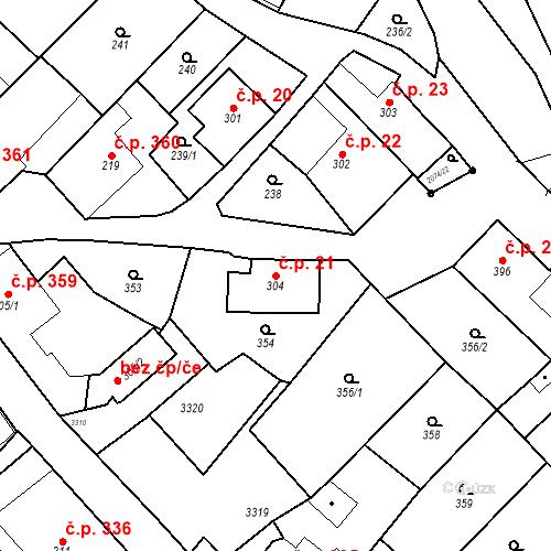 Katastrální mapa Stavební objekt Králíky 21, Králíky