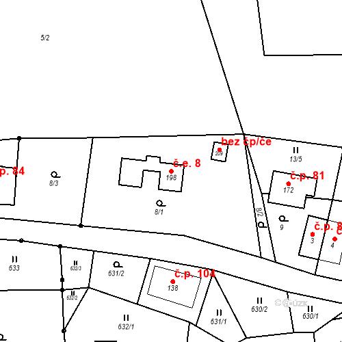 Katastrální mapa Stavební objekt Šanov 8, Červená Voda