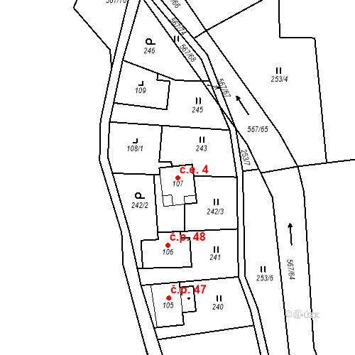 Katastrální mapa Stavební objekt Dolní Orlice 4, Červená Voda