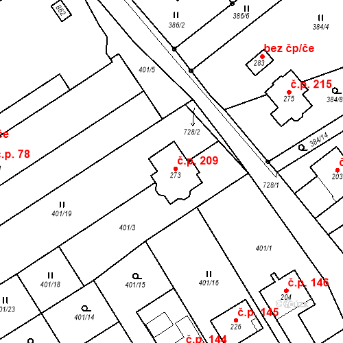 Katastrální mapa Stavební objekt Molenburk 209, Vysočany